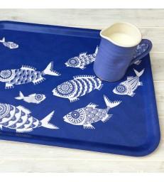 Shoal of Fish Blue Rectangular Tray