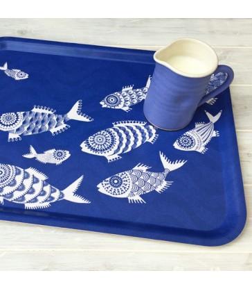 blue shoal of fish rectangular tray