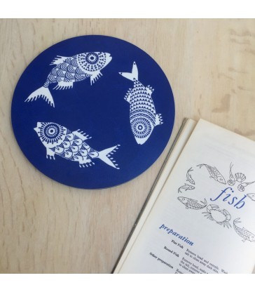 Shoal of Fish Blue Trivet 21cm