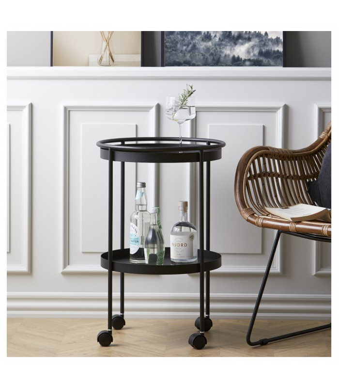 drinks trolley in black with casters