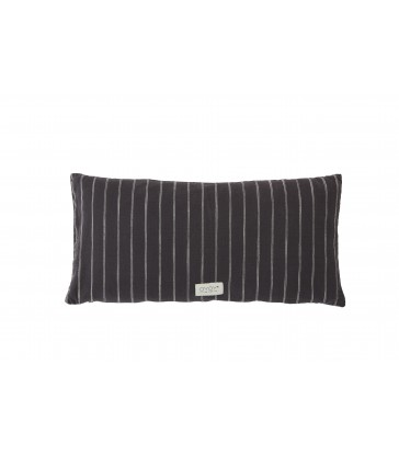 A long dark anthracite grey cushion made from organic cotton. 30cm x 60cm