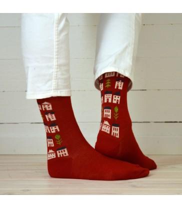 red merino wool socks in two sizes