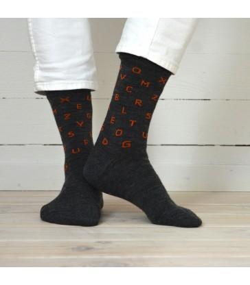 Merino Socks - Letters Grey
