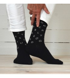 Merino Socks - Letters Black