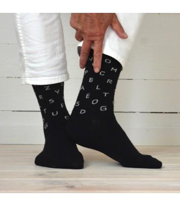 black merino wool letters socks