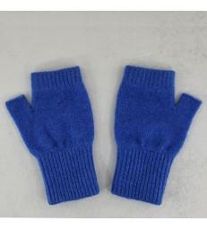 Blue Lambswool Fingerless Mittens