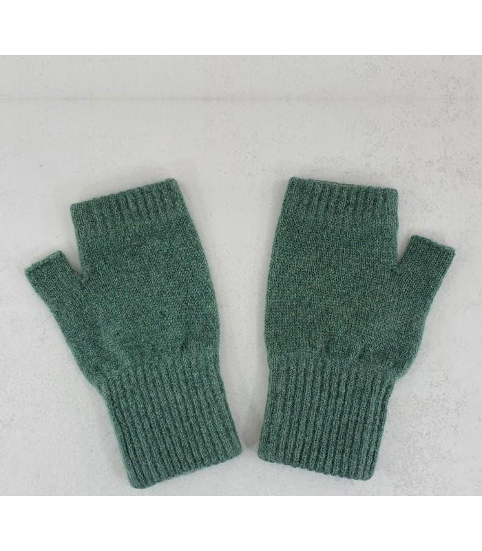 Willow Green Lambswool Fingerless Mittens