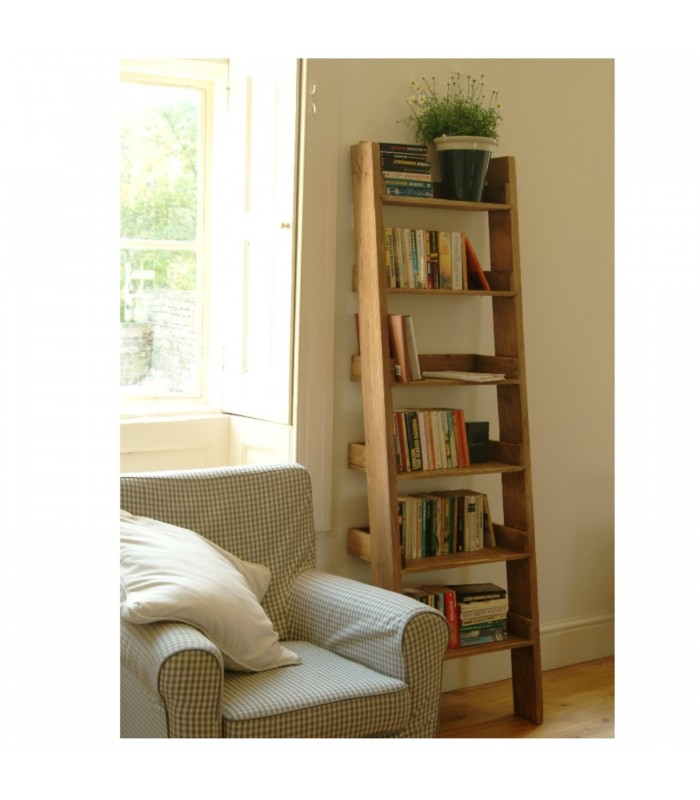 Oak Shelf Ladder Narrow Free Delivery Offer The Blue Door