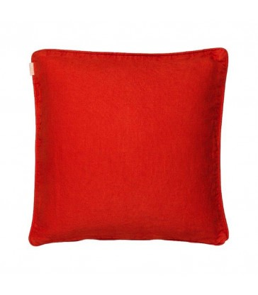 Leila Coral/Natural Reversible Piped Cushion - 100% Linen