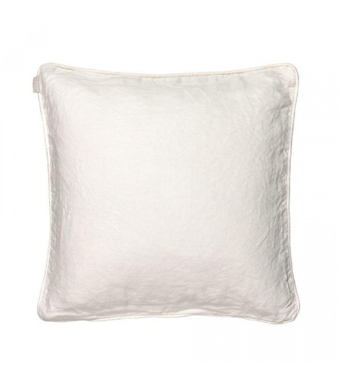 Leila White/Natural Reversible Piped Cushion - 100% Linen